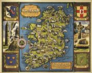 Irish Travel Railway Art Poster Ireland provences and Counties, Map